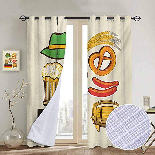 NUOMANAN Pattern Curtains German,Oktoberfest Symbols Wheat Sausage Beer and Pretzels Colorful Bavarian Arrangement,Multicolor,Living Room and Bedroom Multicolor Printed Curtain Sets 84