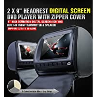 XTRONS Black 2x Twin Car Headrest DVD Player 9 HD Screen USB Sd Slot Game IR Headsets