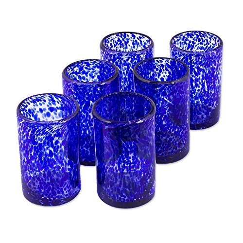 NOVICA Artisan Crafted Clear Blue Hand Blown Recycled Glass Tumbler Glasses, 14 0z. 'Marine' (set of 6, Pitcher not (Hand Blown Glass Tumbler)
