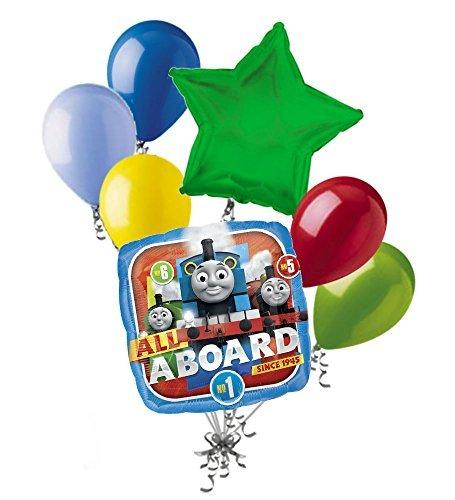 7 pc Thomas the Train Tank Engine Balloon Bouquet Party Decoration PBS Birthday]()