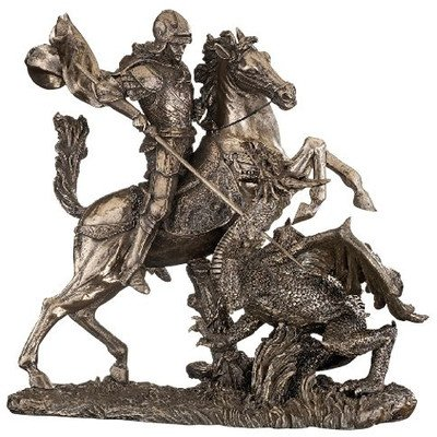 Painted Bronze Sculpture - Design Toscano St. George Slaying the Dragon Sculpture in Faux Bronze