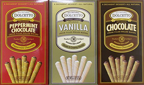 Dolcetto Chocolate - Dolcetto Premium Cream Filled Rolled Wafers Gourmet Cookies 3 Flavor Variety Bundle: (1) Peppermint Chocolate, (1) Sweet & Creamy Vanilla, and (1) Luscious Chocolate, 4.4 Oz. Ea. (3 Boxes Total)