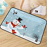 hengshu Snowman Front Door mat Carpet Snowfall Festive New Years Eve Celebration Theme Xmas Figure with Bullfinch Birds Machine Washable Door mat W35.4 x L47.2 Inch Multicolor