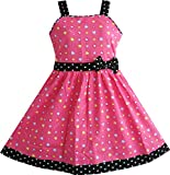 c35d4414950 Sunny Fashion Girls Dress Rose Flower Double Bow Tie Party Sundress ...