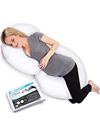 PharMeDoc Total Body Pillow w/ Extra Cover (2 Covers Total) - C-Shaped Comfortable Maternity / Pregnancy Snug Cushion With Zipper - Full Contoured Body Support System, Side Sleeper Pillow BOBEBE Online Baby Store From New York to Miami and Los Angeles