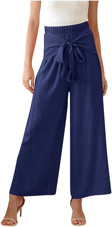 Pantalones Mujer Anchos De Verano Pantalones De Pierna Ancha De Cintura Alta Con Cintura Elastica Moda Mujer Moda Pantalon Amazon Es Ropa Y Accesorios
