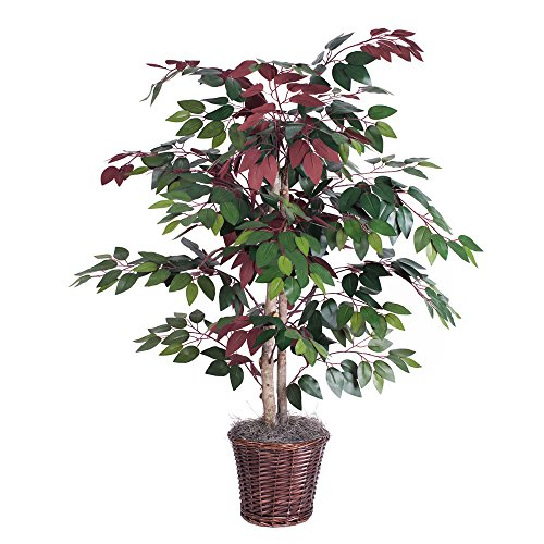 Vickerman 4-Feet Artificial Capensia Bush in Decorative Rattan Basket (Tree Silk)