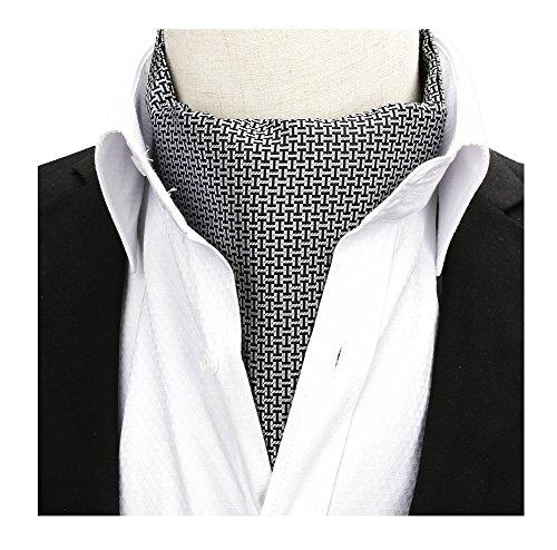 (Men's Black Grey Cravat Ties New Design Ascot Formal Scarf Holiday Gifts for Men)