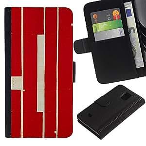 Be-Star la tarjeta de Crédito Slots PU Funda de cuero Monedero caso cubierta de piel Para Samsung Galaxy S5 Mini (Not S5), SM-G800 ( Red Calligraphy Lines Retro Rustic Worn )