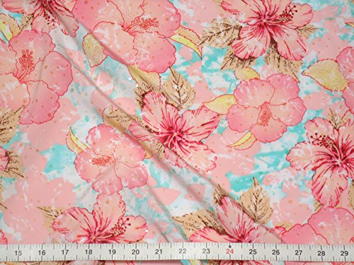 Fabric By the Yard Fabric Beautiful Floral with Metalic Embellishment Allover