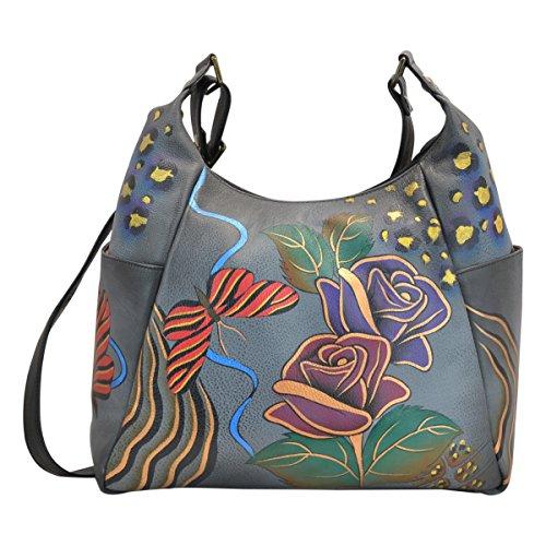 Anna by Anuschka Hobo Handbag | Genuine Leather | Rose Safari Grey