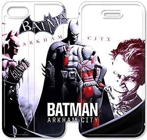 Funda iPhone 5C Funda Cuero, Klreng Walatina® PU Wallet Funda de piel cubierta para el Funda iPhone Diseño 5C Por chica de Batman Arkham City Look M3H6Xm