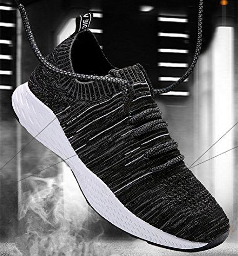 Mens Ultra Llight Ademend Vliegen Mesh Casual Sport Sneakers Mode Hardloopschoenen Zwart / Blauw