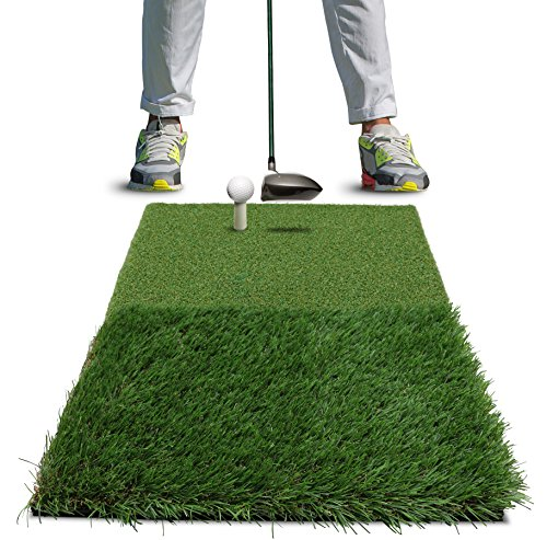 "Rukket Twin-Turf Golf Hitting Grass Mat | Realistic Fairway and Rough | Portable Driving, Chipping, Training Aids, Equipment For Residential Backyard and Indoor Practice With Rubber Tee (25"" x 16"")"