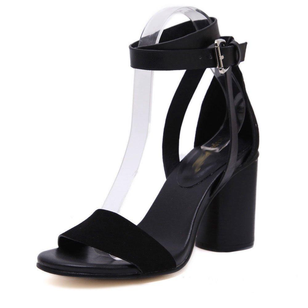 PPFME Sandalen Riemchen Sexy Block-Frauen-Absatz-Schuhe Damen Peep Toe Schönes Kleid Prom Schuhe