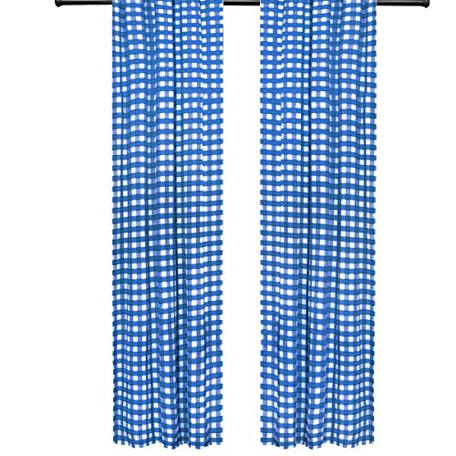 lovemyfabric Gingham/Checkered 100% Polyester Curtain Window Treatment/Decor Panel-Royal Blue and White (2, 56