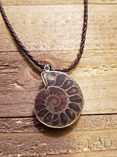 (Fossil Ammonite Pendant Leather Necklace Stone Jewelry Boho (N663))
