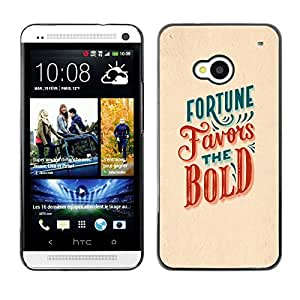 Shell-Star Arte & diseño plástico duro Fundas Cover Cubre Hard Case Cover para HTC One M7 ( Fortune Favors The Bold Red Teal Inspiring )