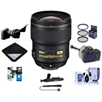 Nikon 28mm f/1.4E AF-S NIKKOR Lens USA - Bundle With 77mm Filter Kit, Flex Lens Shade, FocusShifter DSLR Follow Focus, Cleaning Kit, Lens Wrap 15x15, Capleash II, Lenspen Cleaner, Software Package