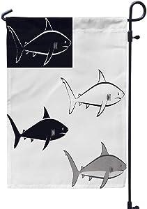 GANKE Shark Garden Flag, Shark Art Line Aquatic Black Blue Contour Fish Grey 12x18 Inch Outdoor Seasonal Flags Double Sided Weather Resistant for Garden Yard House Decorations,Shark Art Line