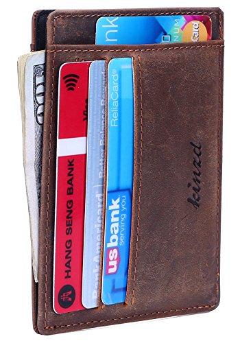 Kinzd Slim Front Pocket Wallet Card Holder Case Stylish Gift for Men