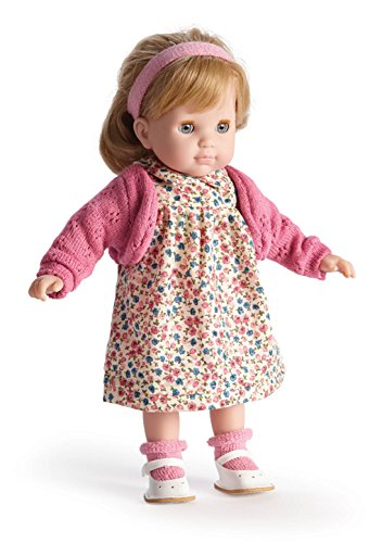 JC Toys Blonde Toddler Doll, 14-Inch Soft Body Doll Dressed in Pretty Sweater and Flower Dress. Open and close eyes.  Designed by BERENGUER for Children 3+