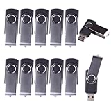 LHN® (Bulk 10 Pack) 8GB Swivel USB Flash Drive USB 2.0 Memory Stick (Black)