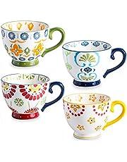 Set of 4 Coffee Mug Sets, DeeCoo 15 Ounce Large Ceramic Coffee Mugs Restaurant Coffee Mug, Large-sized Black Coffee Mugs Set Perfect for Coffee, latte, Cappuccino, Tea, Cocoa, Cereal, Hot Chocolate