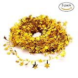 3PCS Wire Garland,Gold Stars,Christmas Decorations Party Accessory,25 Ft x 3 (Gold)