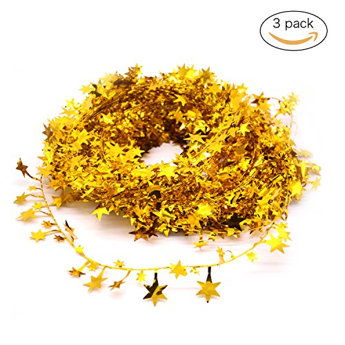 JINZAN 3PCS Wire Star Garland Tinsel Gold Stars Garland Christmas Decorations Party Accessory,25 Ft x 3 (Gold Tinsel Star)