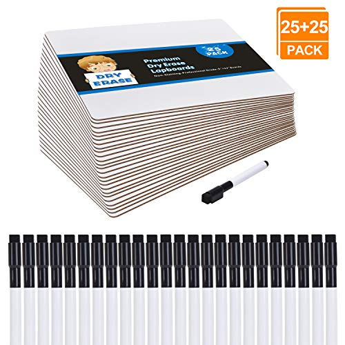 [25 Pack] Dry Erase Boards Classroom Set, Small White(9 x 12