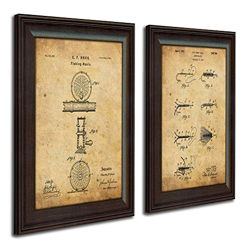 Personal Prints 2 pc Framed Modern Patent Set - Fly Fishing 14