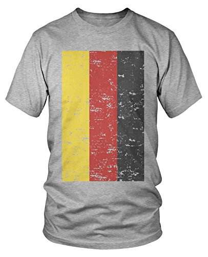 fan products of Amdesco Men's Deutschland Germany Flag Faded Vintage German Flag  T-shirt, Heather Gray Large