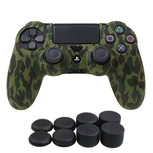 YoRHa Water Transfer Printing Camouflage Silicone Cover Skin Case for Sony PS4/slim/Pro controller x 1(forest) With Pro thumb grips x 8