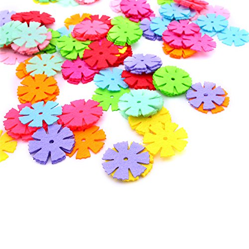 LoveInUSA 160 Pcs Flower Shapes Craft Felt Flowers, DIY (Self Adhesive Felt Flowers)