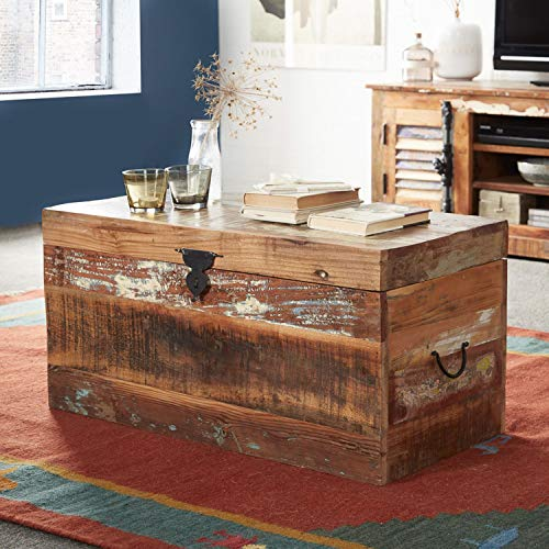 Indian Hub Coastal Reclaimed Wood Trunk Box Coffee Table Amazon