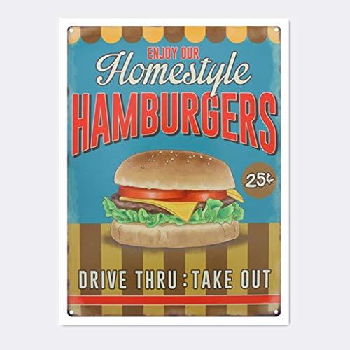 ホームスタイルのハンバーガー 金属板ブリキ看板警告サイン注意サイン表示パネル情報サイン金属安全サイン