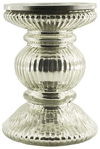 Crafkart Valentines Day Sale on Silver Pillar Glass Decor Centrepiece Candle Stand Ribbed Antique Look Votive Tealight ()