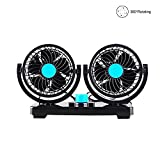 AUKUK Double-ended electric car fan 2 speed 12V cooling air circulator - 360 degree rotatable automatic fan car SUV RV boat car golf cart, bicycle and other outdoor sports