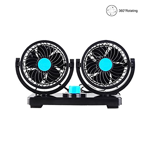 - AUKUK Double-ended electric car fan 2 speed 12V cooling air circulator - 360 degree rotatable automatic fan car SUV RV boat car golf cart, bicycle and other outdoor sports