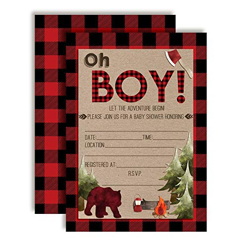 Oh Boy! Outdoorsy Red and Black Plaid Lumberjack Baby Boy Sprinkle Shower Invitations, 20 5