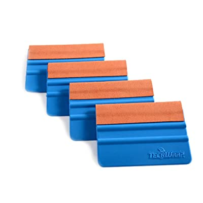 TECKWRAP Durable Felt Edge Squeegee 4 Inch for Car Squeegee Vinyl Decals Blue 4 pcs (with Orange Felt Edge): Automotive