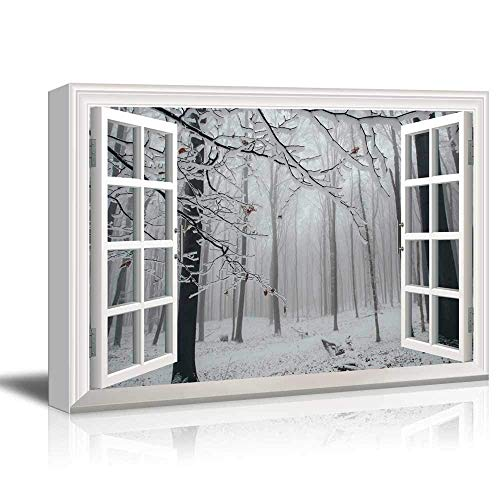 White Window Looking Out Into a Snowed in Tree Forest