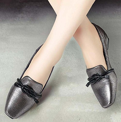 Court Gun Square perezoso zapatos zapatos cuero 34 42 Moccasin Mujer Zapatos Casual Pure Tamaño Heel Bowknot zapatos de Toe Pump vestir color Chunkly de Eu color 2cm Loafer Decoración Moda 7gqxxwfP