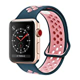 YC YANCH Greatou for Apple Watch Band 38mm,Soft Silicone Sport Band Replacement Wrist Strap for iWatch Apple Watch Series 3, Series 2, Series 1,Nike+,Sport,Edition,S/M,Lightpink Midnightblue