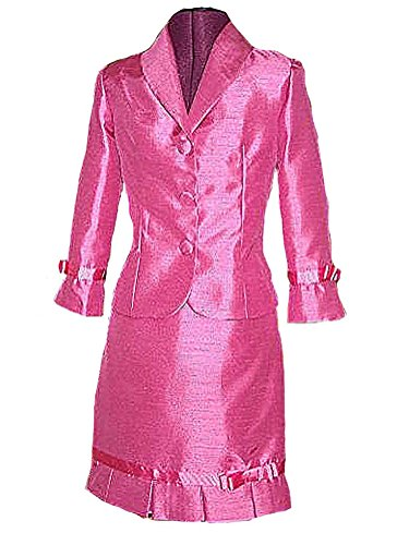 [HSDJ Girls' Outfits Performance Sets Interview Pageant Suits 10 US Fuchsia] (Pageant Suits)