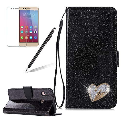 Girlyard Huawei P20 Lite Women Wallet Glitter Case,Shiny Diamond Love Heart Design PU Leather Wallet Flip with Card Holders and Screen Protector Shockproof Cover for Huawei P20 Lite-Black