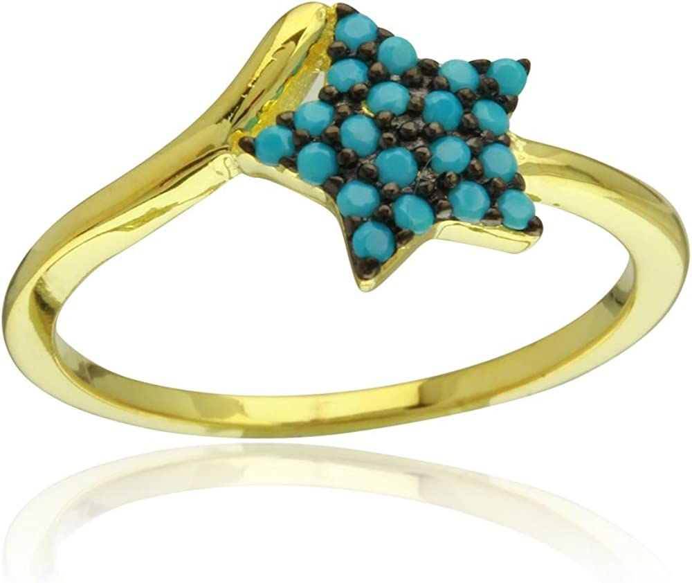 Princess Kylie Pave Set Synthetic Turquoise Star Shaped Ring Gold-Tone Plated Star Sterling Silver