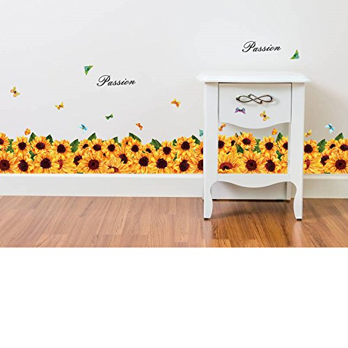Retro Flower Wall Sticker - Mznm Sunflower Skirting Line Wall Stickers Decals Home Kindergarten Stove Decor Yellow Flower Baseboard Wall Papers Waterproof