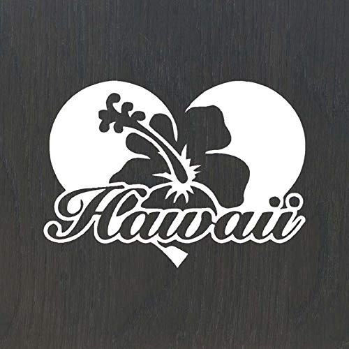 - Hawaii Hibiscus Flowers in Heart Love Shape Vinyl Sticker Decal Home Decals Laptop Decal Car Window Truck Decal Sticker